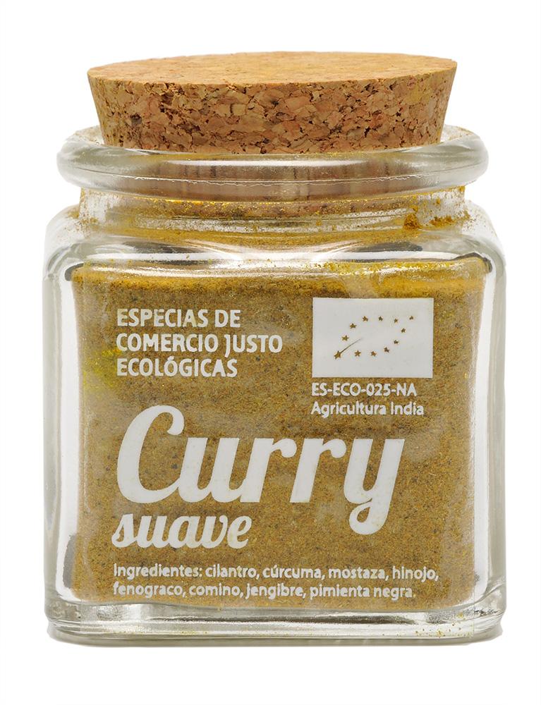 curry suave ecológico y de Comercio Justo en tarro de cristal transparente y tapón de corcho