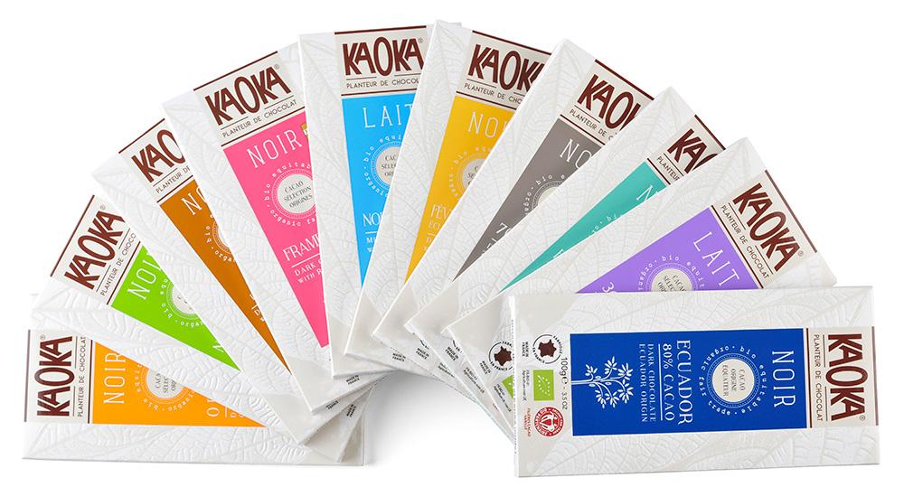 Variedad de tabletas de chocolate kaoka