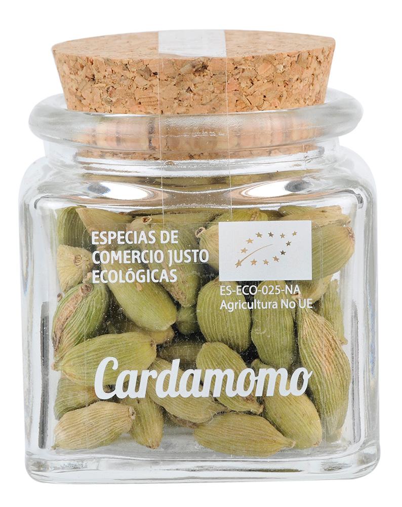 Bote de cristal de Cardamomo ecológico y de Comercio Justo