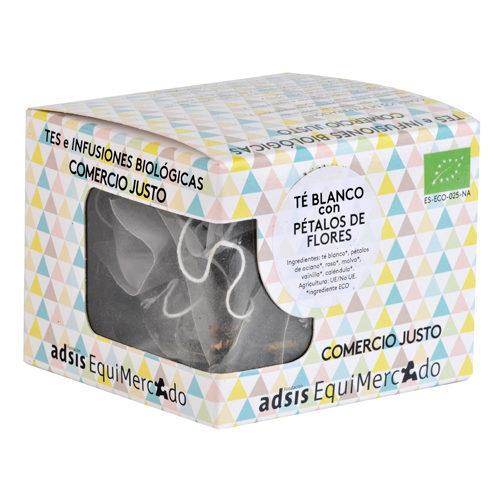Caja de té blanco con pétalos de flores en pirámides (contiene 15 uds)
