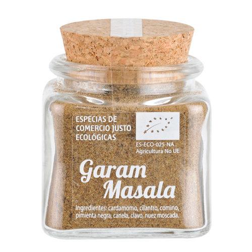 Bote de cristal de garam masala en polvo con tapón de corcho
