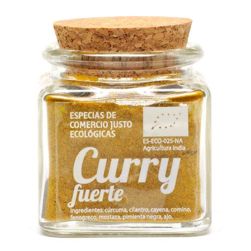 Bote de cristal de curry fuerte en polvo con tapón de corcho