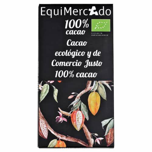 Chocolate negro 100% cacao ecológico y de comercio justo