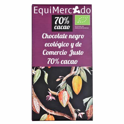 Chocolate negro 70% cacao ecológico y de comercio justo