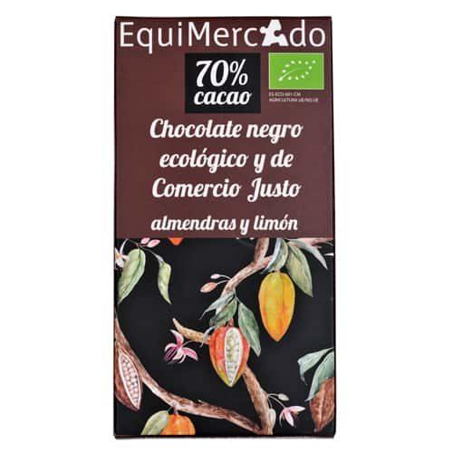 Chocolate negro con almendras y piel de limón ecológico y de comercio justo