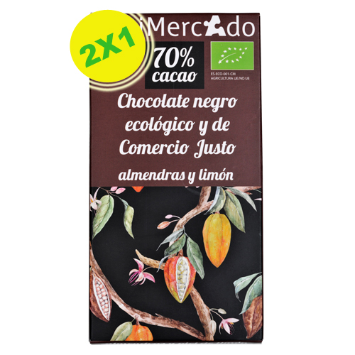 Chocolate negro con almendra y limón eco