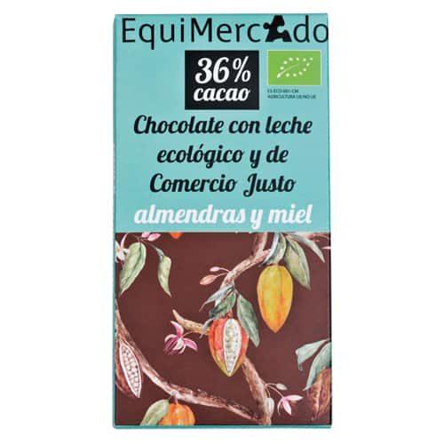 Chocolate leche con almendras y miel ecológico y de comercio justo