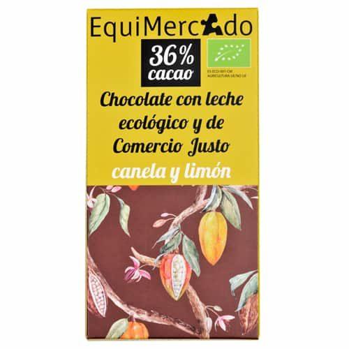 Chocolate leche con canela y limón ecológico y de comercio justo