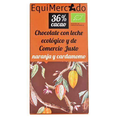 Chocolate leche con naranja y cardamomo ecológico y de comercio justo