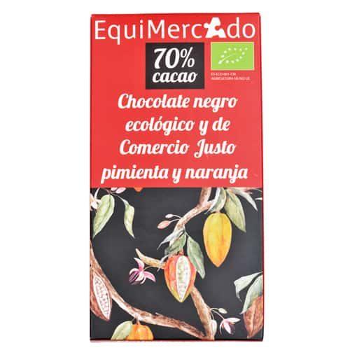 Chocolate negro con pimienta y naranja ecológico y de comercio justo