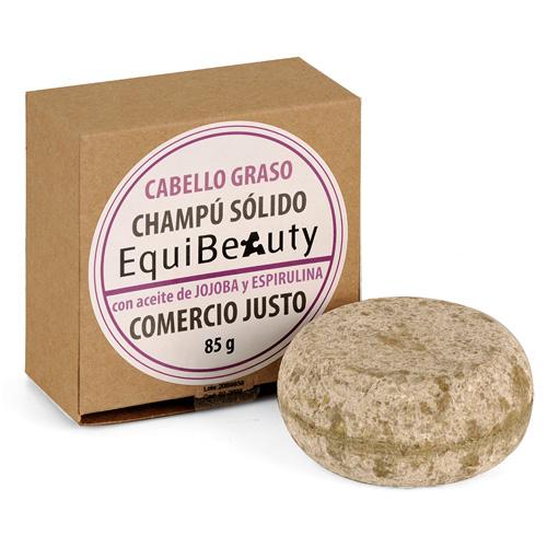 Champú sólido con aceite de jojoba y espirulina cabello graso en caja de cartón