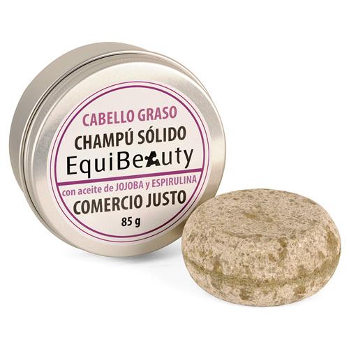 Champú sólido con aceite de jojoba y espirulina cabello graso en jabonera de aluminio