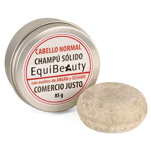 Champú sólido con aceite de argán y sésamo cabello normal en jabonera de aluminio