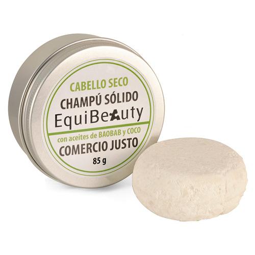 Champú sólido con aceite de baobab y coco cabello seco en jabonera de aluminio